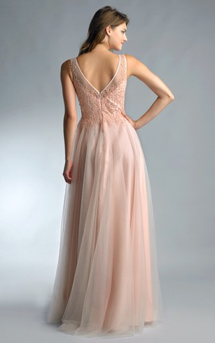 A-line Floor-length High Neck Sleeveless Tulle Low-V Back Dress