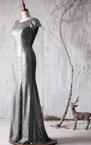 6134383981e1 ... Bateau Cap Sleeve Allover Sequined Mermaid Long Dress Brush Train