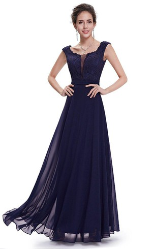 Cap-sleeved A-line Floor-length Chiffon Dress with Lace Bodice