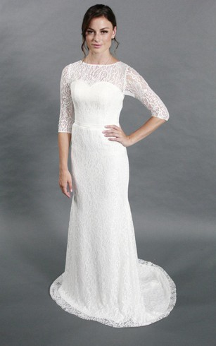 Beau Column Half Sleeve Jewel Neck Lace Dress With Illusion Back ...