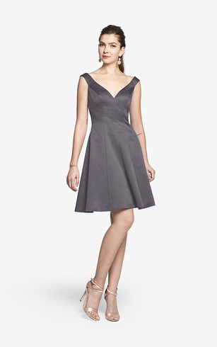 Charming Mini V Back Sleeveless A-Line Satin Dress With V-neck and Side Pockets