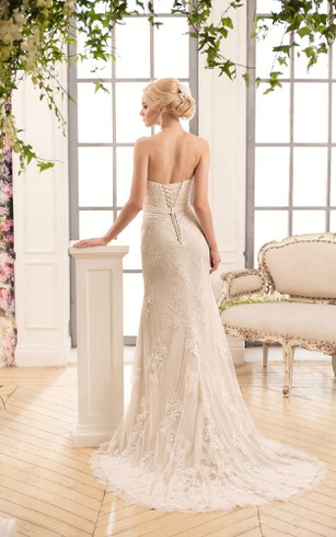 Sheath Floor-Length Sweetheart Sleeveless Backless Lace Dress With Appliques And Bow