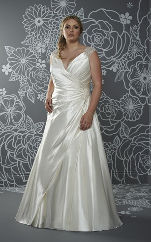 A-Line Floor-Length V-Neck Sleeveless Satin Sweep Train Illusion Side Draping Dress