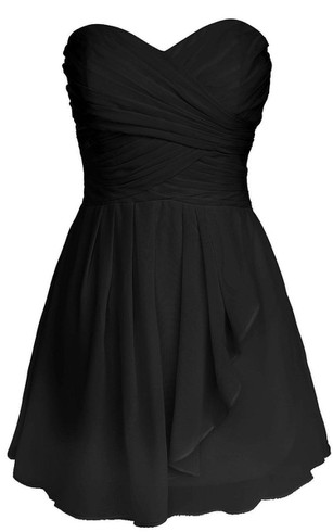 Sweetheart A-line Layered Short Dress With Pleats