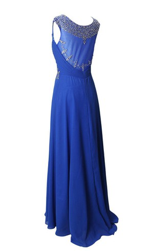 Cap-sleeved Chiffon Dress With Beading and Illusion Back