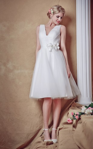 Glam Lovely Sleeveless V Neck Belted Short Wedding Dress