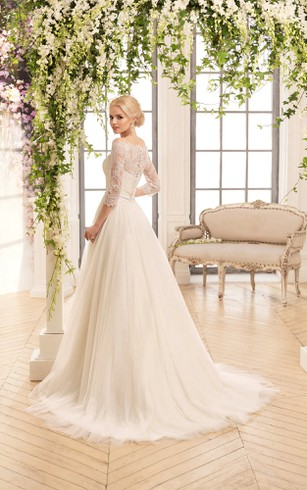 A-Line Floor-Length Off-The-Shoulder 3-4-Sleeve Illusion Tulle Lace Dress With Criss Cross And Pleats