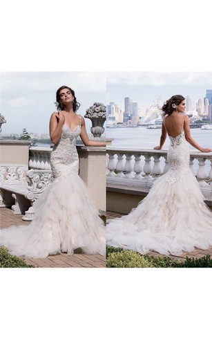 Stylish mermaid trumpet wedding gowns fishtail bridal dresses trumpet short sweetheart sleeveless bell beading appliques chapel train backless tulle lace dress junglespirit Images