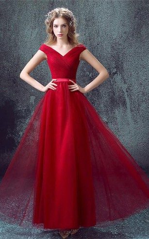 Newest Red Off-the-shoulder A-line Prom Dress 2016 Lace-up Floor-length