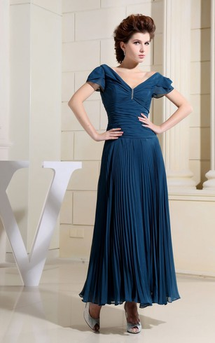Chiffon Caped-Sleeve Long Dress With Ruching and Pleats