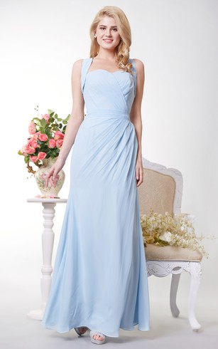 Graceful Sweetheart Sheath Chiffon Long Dress With Bow