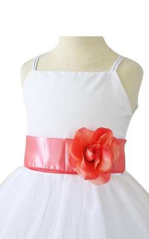 Sleeveless A-line Dress With Petals and Spaghetti Straps