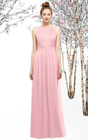 Sleeveless High-Neck Long Dress With Ruching