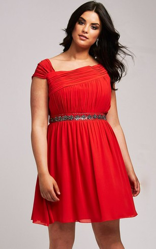 Short Plus Sleeves Dress With Beaded Waist