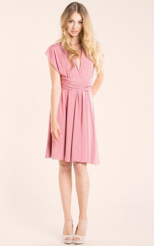 V Neck Cap Sleeve A-line Knee Length Jersey Dress With Criss-cross Back