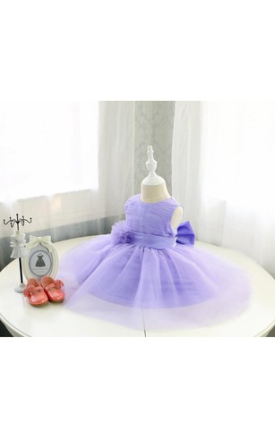 Scoop Neck Sleeveless A-line Pleated Tulle Ball Gown With Flower and Bow