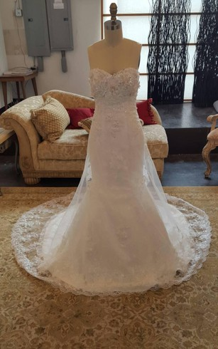 Sweetheart Mermaid Strapless Lace Wedding Dress With Beading Bodice