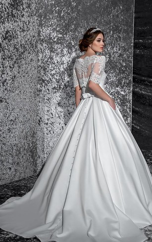 A-Line Floor-Length Off-The-Shoulder Half-Sleeve Illusion Satin Dress With Lace