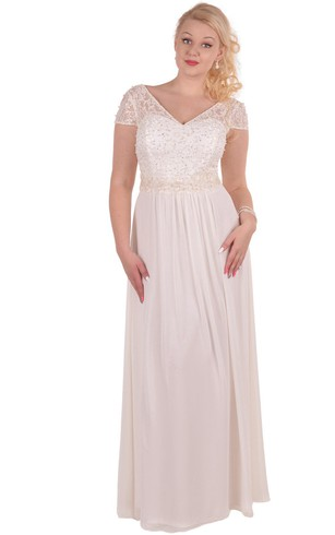 A-Line Floor-Length V-Neck Short Sleeve Chiffon Appliques Dress
