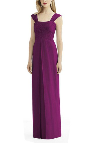 Cap Sleeve Ruched Floor-length Bridesmaid Dress