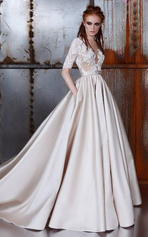 Lace bridal dresses retro lace wedding gowns dorris wedding lace half sleeve satin a line wedding dress with illusion appliqued top junglespirit Gallery