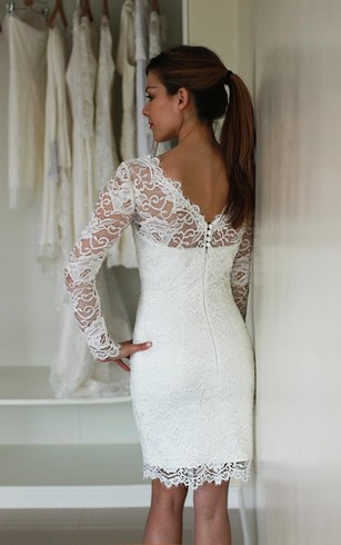 Illusion Long Sleeve Short Lace Dress With Low V Back