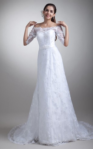 Amazing Half Short Sleeve Satin Appliqued a Line Off the Shoulder Embellished Wedding Dresses