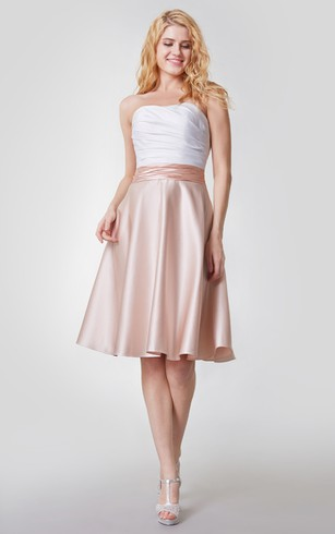Refined Strapless A Line Shirt Satin Dress With Ruching