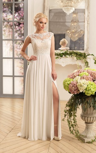 Sheath Maxi Bateau Cap-Sleeve Illusion Chiffon Dress With Split Front And Appliques