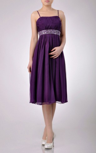 Knee-length A-line Chiffon Bridesmaid Dress With Beaded Belt and Spaghette Straps