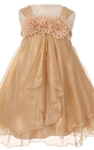 Sleeveless A-line Ruffled Dress With Flowers