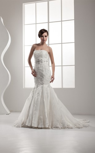 Strapless Trumpet A Line Lace Pleats And Dress With Beading