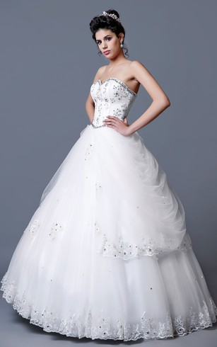 Satin Ball Gown With Removable See-thru Jacket