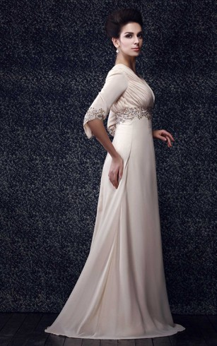 Half-Sleeve V-Neck Floor-Length Dress With Beaded Waist