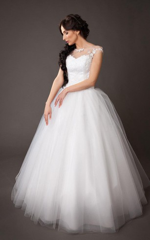 Cap Sleeve A-Line Tulle Ball Gown With Lace Bodice and Bateau Neck