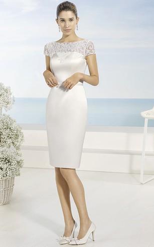 Elegant Pencil Bateau Neck Short Short Sleeve Satin Wedding Dress