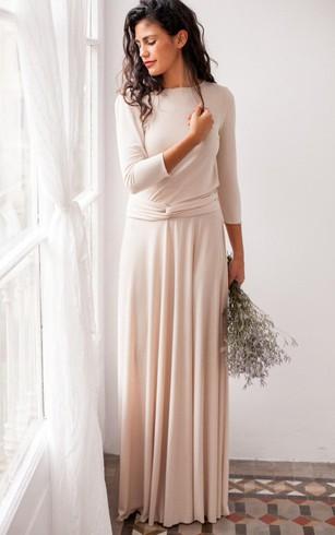 Floor Length Jersey Satin Dress