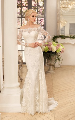 Sheath Long Off The Shoulder Sleeve Illusion Lace Dress With Appliques