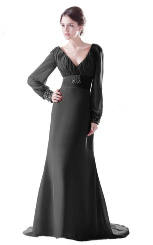 Long-sleeved V-neck Gown With Empire Waist