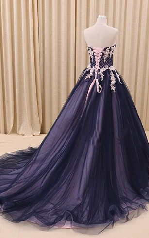 A-Line Ball Gown Floor-Length Sweetheart Sleeveless Bell Appliques Court Train Corset Back Tulle Lace Dress