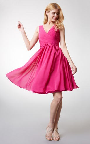 Chic Top-ruched V-neck A-line Flowy Chiffon Dress