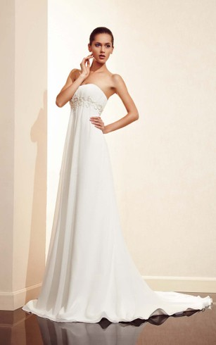 Strapless Bridal Dresses | Simple Strapless Lace Beach Wedding Gown ...