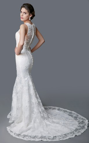 Delicate Illusion Back Lace Mermaid Dress