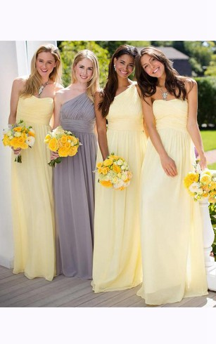 Pale Yellow Bridesmaid Dresses | Light Yellow Formal Gowns - Dorris ...