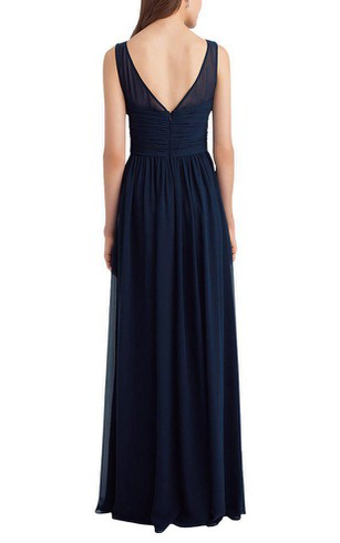 Illusion Chiffon Ruched Long Bridesmaid Dress