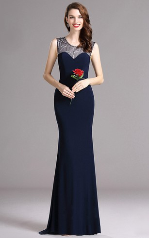 Sheath Sweep Scoop Sleeveless Jersey Sequins Illusion Dress
