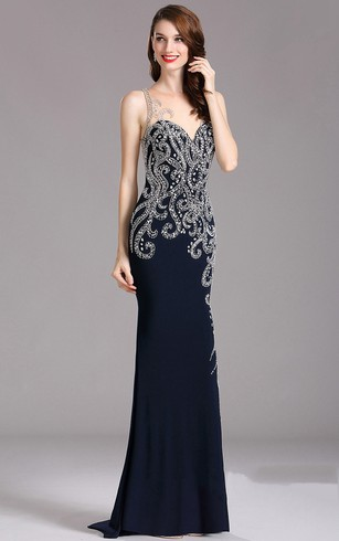 Sheath Sweep Sweetheart Sleeveless Jersey Beading Illusion Dress