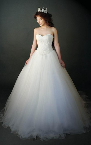 Sweetheart A-Line Tulle Dress With Lace Bodice and Lace-Up Back