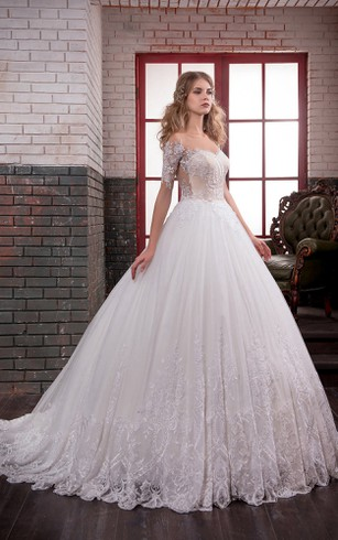 Ball Gown Long Off The Shoulder Short Sleeve Illusion Lace Dress With  Appliques ...