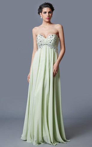 Ethereal Bodice-jeweled Sweetheart Chiffon Prom Gown
